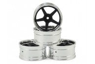 MST GT Wheel Set (Chrome/Matte Black) (4) (Offset Changeable) | Wheels
