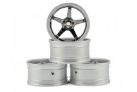 MST GT Wheel Set (Matte Silver/Black Chrome) (4) (Offset Changeable) | Wheels