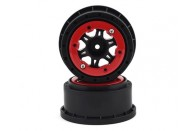 Pro-Line Split Six Bead-Loc Short Course Rear Wheels (Black/Red) (2) w/12mm Hex (Slash Rear)