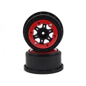 Pro-Line Split Six Bead-Loc Short Course Rear Wheels (Black/Red) (2) w/12mm Hex (Slash Rear) | Rims